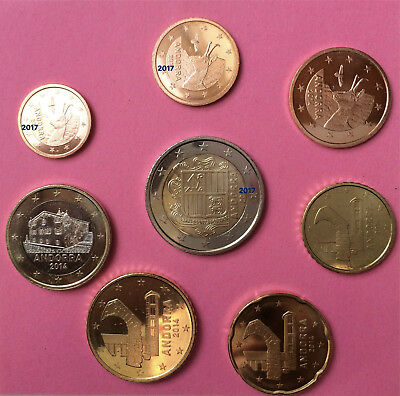Erster KMS Andorra 2014: 5 Cent - 2 Euro - ohne 1+2 Cent - sehr gesucht AT