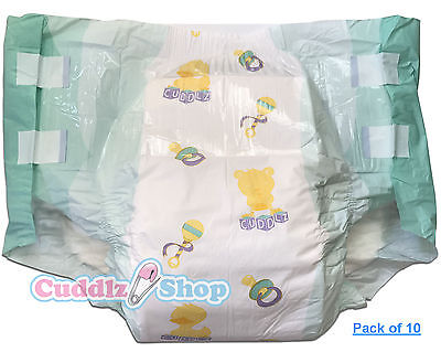 10 Cuddlz Large Adult Nursery Pattern All Over Printed Nappy Diaper ABDL Nappies