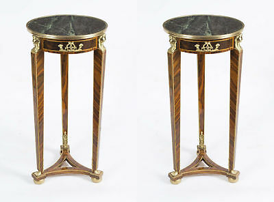 Pair of Empire Style Mahogany & Marble Pedestal Tables