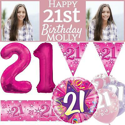 Pink Age 21 Female Happy 21st Birthday Banner Confetti Balloons Decorations