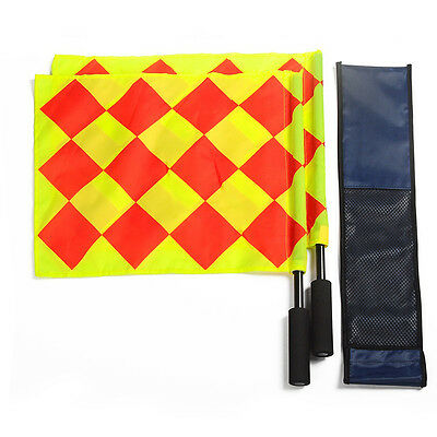 New 2pcs Sports Champion Linesman Flag Referee Soccer Flags