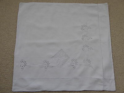 ANTIQUE FRENCH PILLOW CASE - LINEN - HANDMADE EMBROIDERY - circa 1900