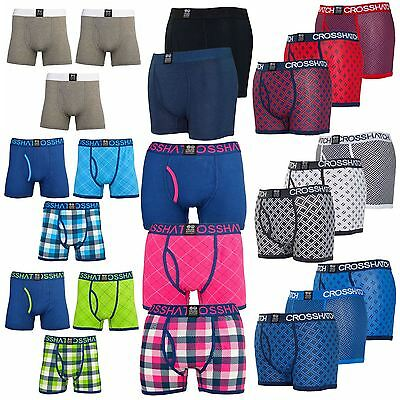 New Mens Crosshatch Assorted Print Boxers Shorts Designer Underwear Trunks 3pack