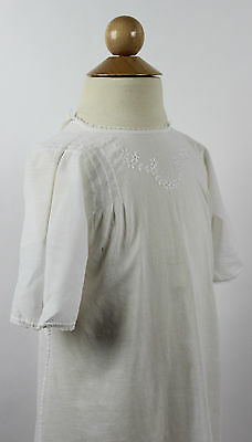 Antique White Cotton Child's Dress with floral Embroidery Antique Clothing