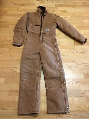 Men's Size Small Carhartt Brown Insulated Coveralls