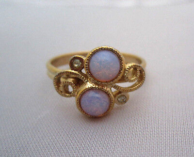"""Vintage SARAH COVENTRY """"CONFECTION"""" FIRE OPAL RHINESTONE RING Art Glass Gold"""
