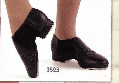 NEW WITHOUT BOX Leather Neoprene Tap Boot Unisex  #3523 Black adjustable taps