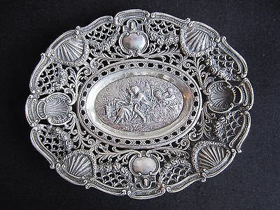 Vintage Italy Firenze 800 Silver 248g Pierced Repousse Tray w/ Central Vignette