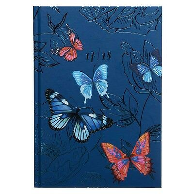WHSmith Flutterby 2017-18 A5 Foil Academic Mid Year Diary Blue Week To View