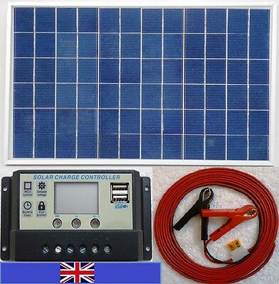 10w Solar Panel +7m cable + 10A LCD Charger Controller 12v Battery /w 2x 5V USB