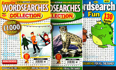 Wordsearch Books - 3 Book set - 370 Puzzles - New  (Set 99)