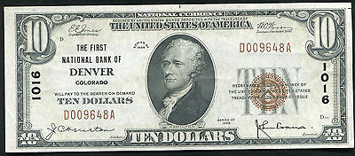 1929 $10 The First National Bank Of Denver, Co National Currency Ch. #1016 Au