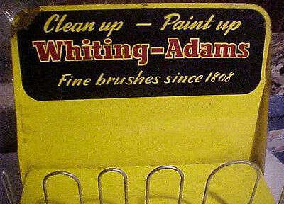 Vintage Whiting & Adams Paint Brush Store Display Metal Sign Country Store