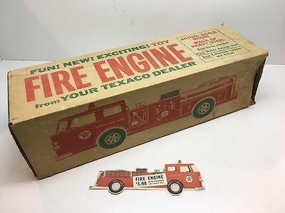 Vintage Buddy L Texaco Fire Engine Truck Box & Coupon Gas & Oil Filter