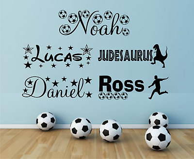 Personalised Name Boys Stars Football Dinosaur Vinyl Wall Art Sticker Bedroom