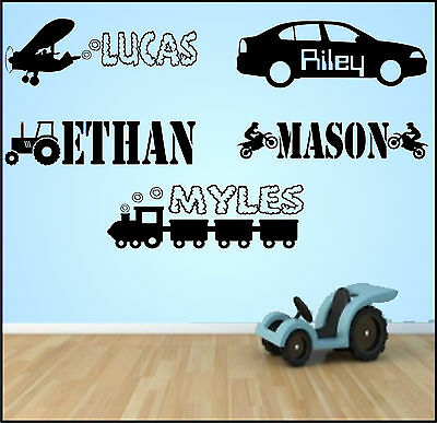 Personalised Name Boys Vehicle Transport Vinyl Wall Art Sticker Bedroom