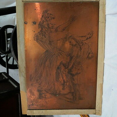#4 Antique Copper Printing Plate English Art Block early humor fat lady girdle