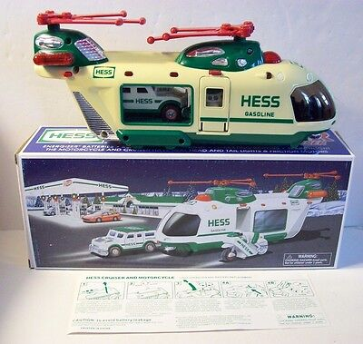 2001 Hess Helicopter with Motorcycle and Cruiser  in original box
