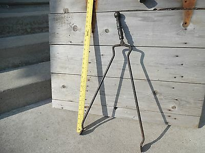 Antique Primitive Blacksmith Fire Place Hinge Pliers Cupped Tongs Hand Forged 2