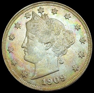 "1909 United States Liberty V Nickel Coin Uncirculated Condition ""color"""