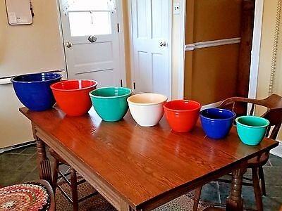 HTF Vintage Homer Laughlin Complete Fiesta ware Mixing Bowl Set Excellent Cond.!
