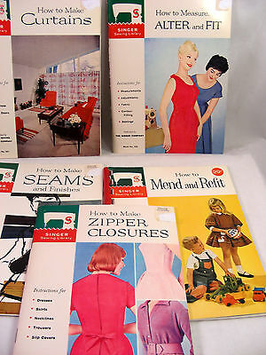 5 Vintage Singer Sewing Library Instruction Manuals circa 1960 Antique Craft