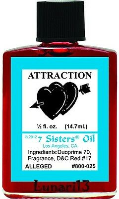 Attraction Oil, 7 Sisters, 1/2oz, Lunari13, Wicca, Santeria, Brujeria