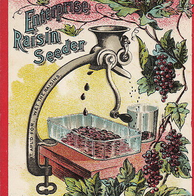 Antique Enterprise Raisin Seeder Grape Grinder Victorian Advertising Trade Card