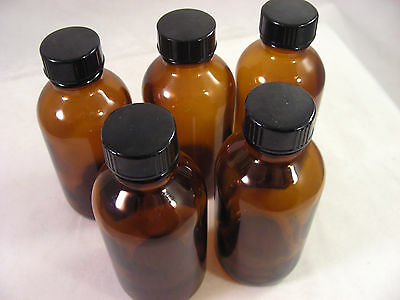 Set of 5 Brown Glass Medicine Bottles with Lids 3.3 ounce capacity 100 ml.