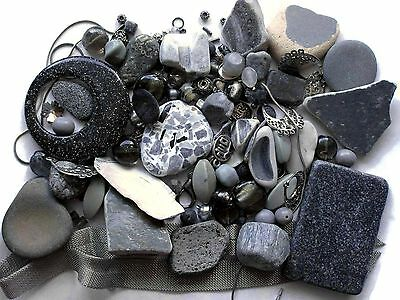Mosaic Pieces Tile Beads Stones Findings 150+ Pc Acrylic Pendant Gray Silvertone