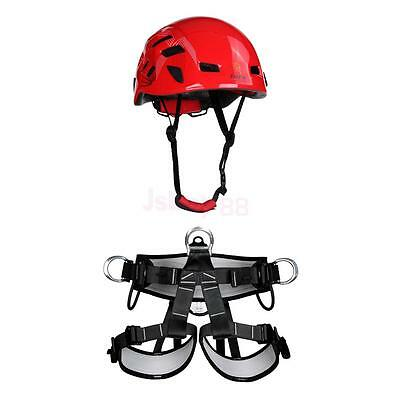 Rescue Rock Climbing Rappelling Safety Harness Seat Belt + Protection Helmet