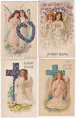 SUPER  Postcard SET of 4 - Embossed Easter Cherub Children Angels 1908 Victorian