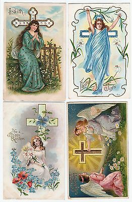SUPER  Postcard LOT of 4 - Embossed Easter Cherub Angels 1910 era Victorian