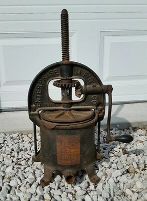 Enterprise Mfg Co Fruit Press Sausage Stuffer 6 Qt Cast Iron