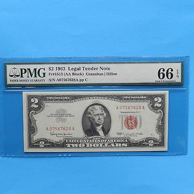 $ 2  1963  Legal Tender Note PMG 66 EPQ Gem Unc Fr#1513