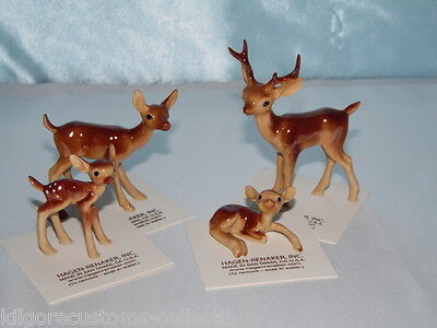 Hagen Renaker Deer Set of 4 Papa, Mama, Fawns FREE SHIPPING