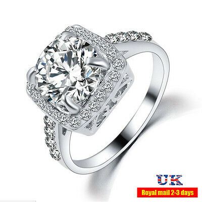 10kt gold plated Exquisite White Sapphire 925 Silver Filled Wedding Ring Jewelry