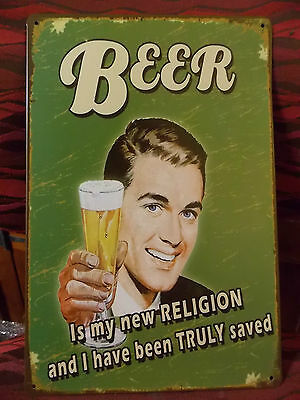 beer its my  new religion  tin metal sign MAN CAVE brand new or for the  bar