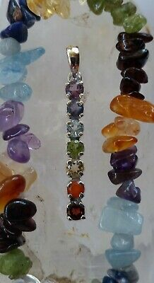 516 Chakra 7 gemstone pendant solid 925 sterling silver rrp$69.95