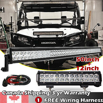 "50 inch LED WORK LIGHT BAR COMBO + 12"" CREE OFFROAD DRIVING JEEP TRUCK 4X4WD SUV"
