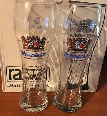 2 NEW WEIHENSTEPHAN GERMAN BEER 0.5L GLASS glasses HOME BAR BRAND NEW