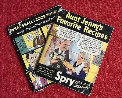 1940s (lot 2) Aunt Jenny's Spry Favorite Recipes Cookbook Advertising Cook Book