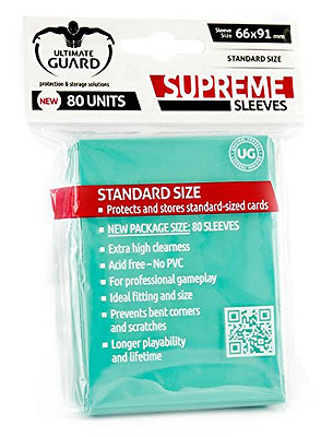 Ultimate Guard Supreme Sleeves Standard Size (Pack of 80, Turquoise)