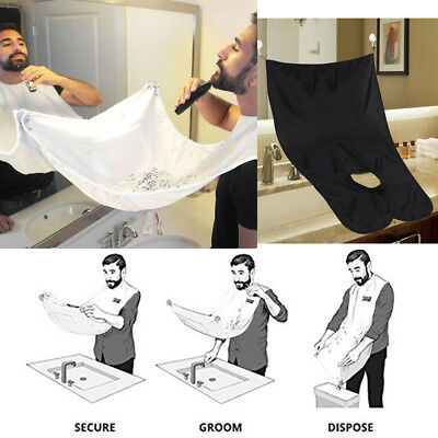 Beard Shaving Bib Hair Clippings Catcher Cape Apron with Sucker for Men One Size