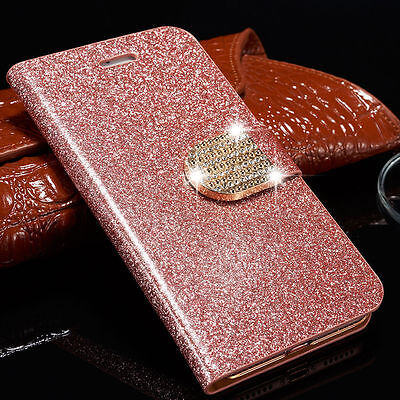 Bling Diamond Leather Flip Stand Card Wallet Case Phone Cover For iPhone Samsung