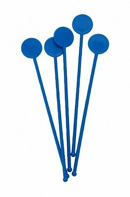 "7"" Blue Disc Cocktail Stirrers Swizzle Mixer Sticks Pack Of 100"