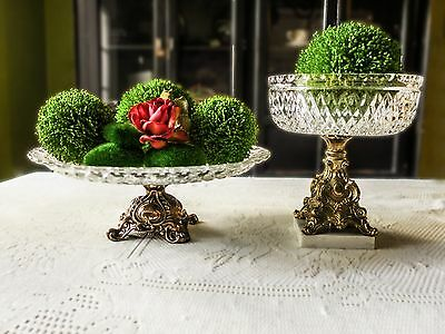 Vintage Crystal And Brass Bowl And Cake Platter Stand Compote Bronze Centerpiece
