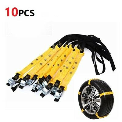 10pcs Auto Car Snow Chains Ice Wheel Tyre Anti-skid Chains Slip Thickened Chains