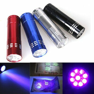 Mini Aluminum UV Ultra Violet 9 LED Flashlight 395nM Blacklight Torch Light Lamp