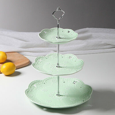 3 Tier Embossed Ceramic Cake Stand Cupcake Stand Food Stand Wedding Plate